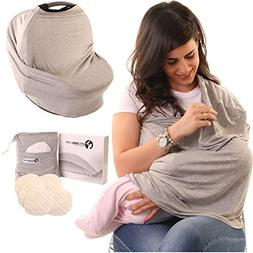 4-in-1 Nursing Cover Up, Inc. 6 Breastfeeding Pads with Pouc