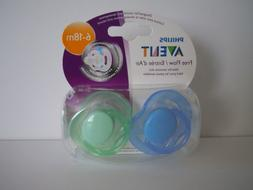 2) PHILIPS-AVENT-FREE FLOW PACIFIERS-6~18M-ORANGE/PINK-BPA F