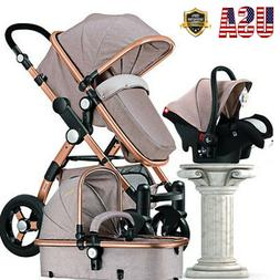 Luxury 3 in1 Baby Stroller Folding Carriage Newborn High Vie