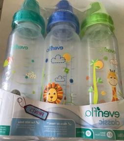 Evenflo 3 Pack Baby Bottles Classic Colored lids , 8 Ounce -