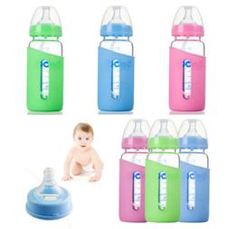 300ML Feeding Bottle With Silicone Cover Anti-hot Baby Food