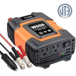 Ampeak 400W Power Inverter DC 12V to 110V AC Car with 3.1A D
