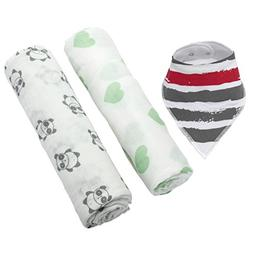 Baby Bamboo Muslin Swaddle Blankets: 2 Pack Gender Neutral R