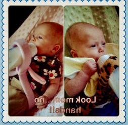 Baby Bottle Holder, Hands Free Feeding, Twins, Triplets, Blu