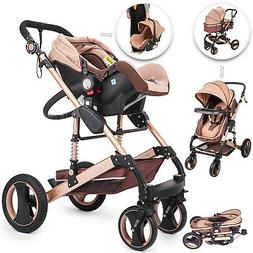 Luxury Baby Stroller 3 In 1 Pushchair Foldable Buggy Infant