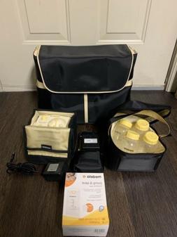 Medela Breast Pump Shoulder Bag Black Tote, Battery Pack, Co