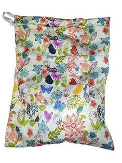 Heart Felt Diaper Wet Bag with Floral Print Two Compartments