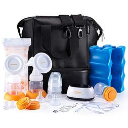 MADENAL Double Electric Breast Pump Travel Set, Ice Pack, Br