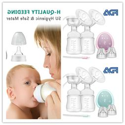 Double Electric Breast Pump With Milk Bottle Infant USB BPA