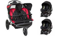 Baby Trend Double Jogger Stroller with 2 Car Seats Travel Sy