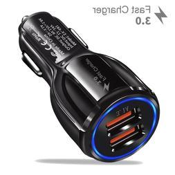Fast Car Charger Adapter 5V 9V 12V Dual USB QC 3.0 for iPhon