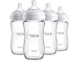 Philips Avent Natural Glass Baby Bottle, 8oz, 4pk, SCF703/47