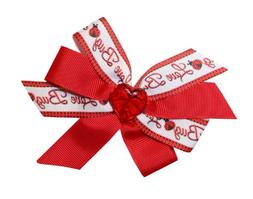Webb Direct 2U Girls Heart Love Bug Valentines Hair Bow on F