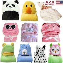 Infant Baby Soft Bath Towe Flannel Hooded Blanket Bath Towel