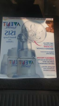 Avent ISIS Manual Breast Pump w/ 2 Bottles New in Sealed Box