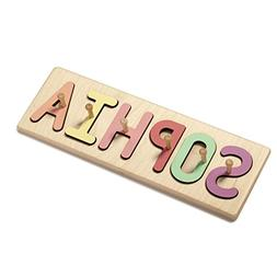 South Bend Woodworks Kids Wooden Peg Name Puzzle – Up to 9