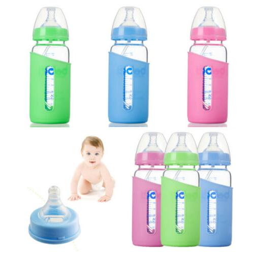 300ml feeding bottle with silicone cover anti