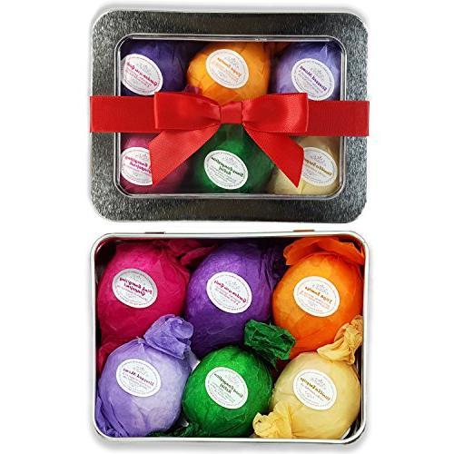Bath Bomb Gift Set USA - 6 Vegan Essential Oil Natural Lush