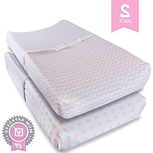Ziggy Baby Jersey Cotton Changing Pad Cover, Pink/White, 2 P