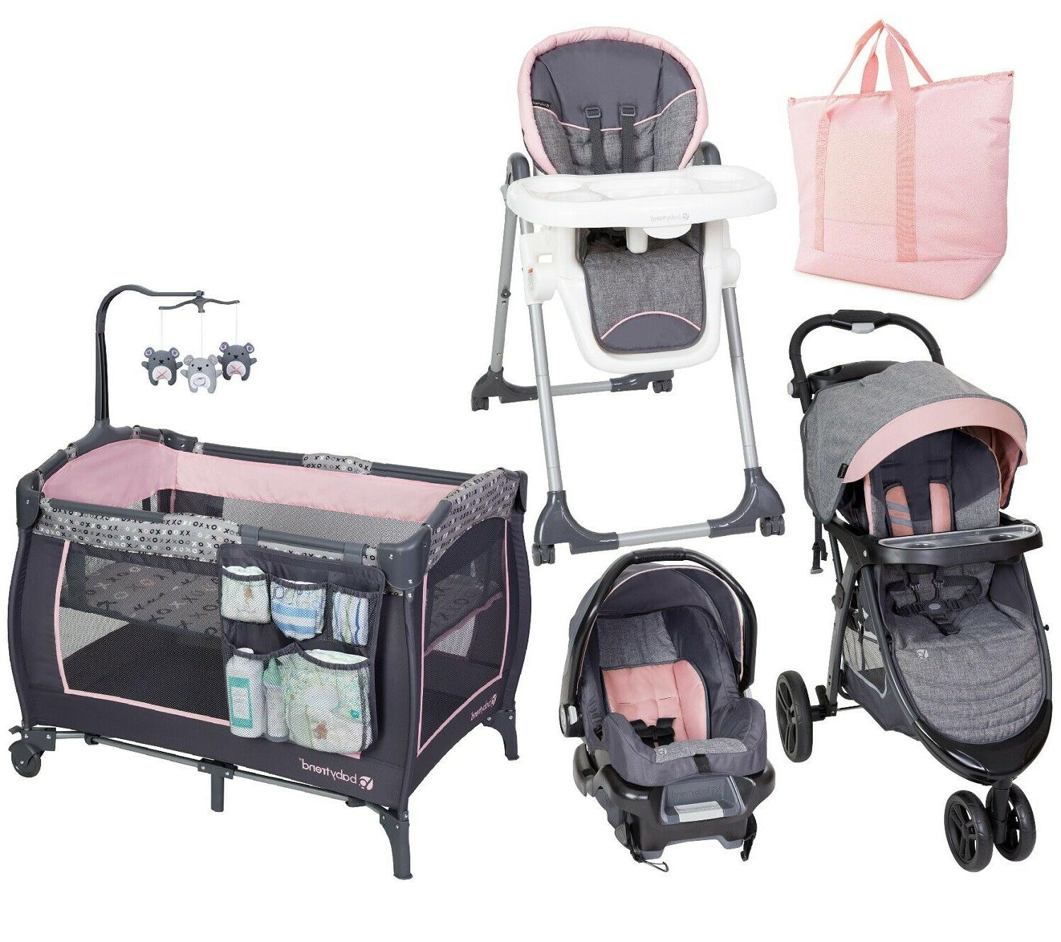 Baby Girl Stroller with Car Seat Playard High Chair Diaper B