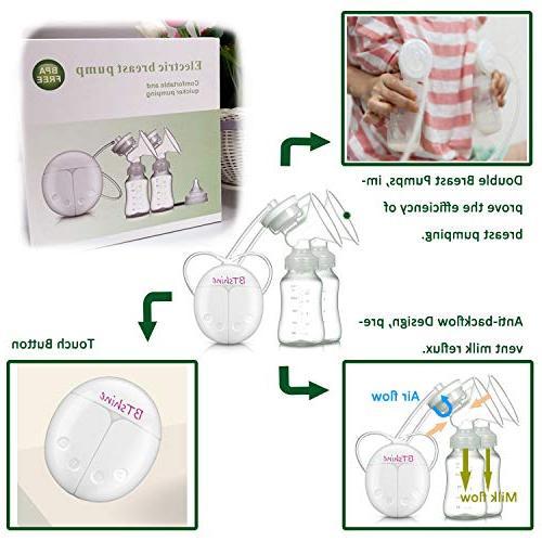BTshine Pump Double Electric - Breastfeeding USB Milk Rechargeable, Mom's Comfort Travel