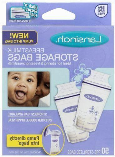 LANSINOH Breastmilk Storage Bags NEW!! Pump into Bag 50 Pre
