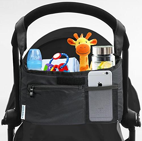 Deluxe Organizer Fit all Strollers Multiple Phone Pocket Cup