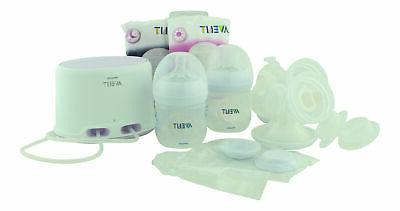 double electric breast pump with breastfeeding accessories
