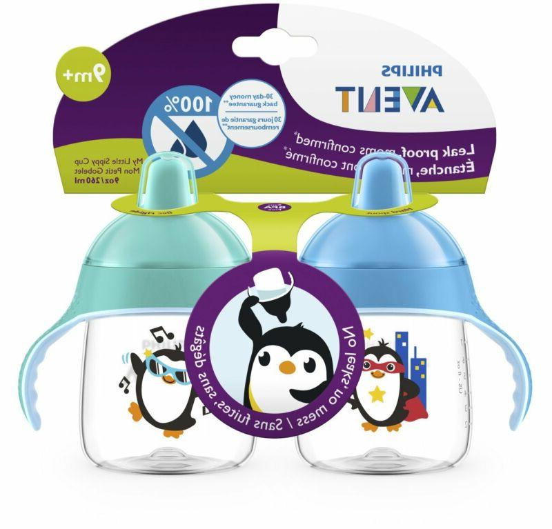 Philips My Penguin Sippy Cup 9oz, Blue and Green, 2pk, SCF753/25