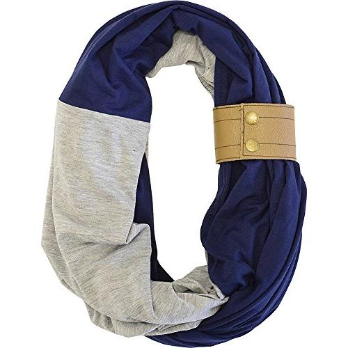Itzy Ritzy Nursing Happens Luxury Collection Infinity Breastfeeding Scarf with Leather Cuff Navy