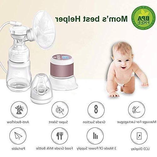 Portable Breast Pump - Dual Use Baby Single Breastfeeding Pump Adjustable Level and Free Storage