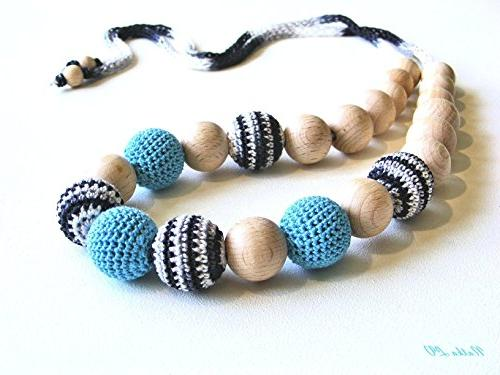 teething necklace light blue