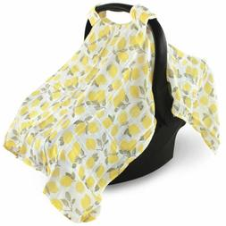 Hudson Baby Muslin Cotton Car Seat Canopy, Lemons, One Size
