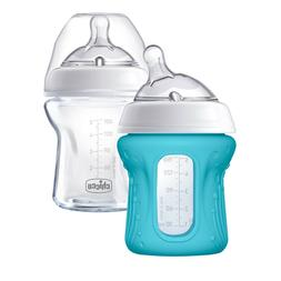 Chicco NaturalFit Glass Baby Bottle 2 Pack, 0m+ Slow Flow, w