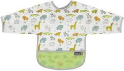 Kushies Baby Neutral White Little Safari Clean Bib with Slee
