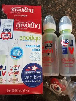 NEW Dr Brown's Options Patriotic Military 2 Bottles+Pacifier