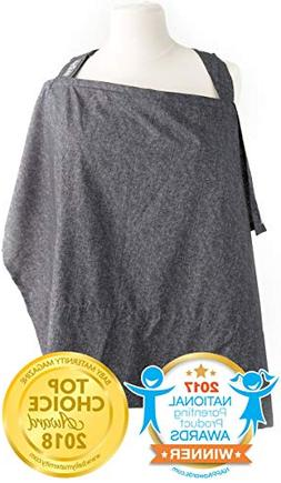 Nursing Cover with Sewn in Burp Cloth for Breastfeeding Infa