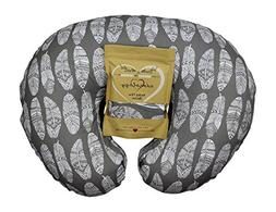 Nursing Pillow Slipcover Gray Feathers Design Maternity Brea
