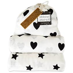 Kaydee Baby Organic Muslin Cotton Swaddle Blankets - Set of