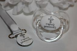 personalized pacifier and clip christening baptism pacifier