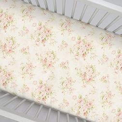 Carousel Designs Pink Floral Crib Sheet