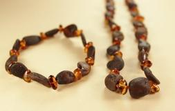 Set of Baltic Amber Adult Necklace 20'' and Elastic Bracelet