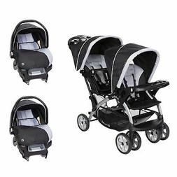Baby Trend Sit N Stand Baby Double Stroller and 2 Infant Car