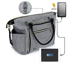 Smart Baby Diaper Bag with Portable Phone Charger, Changing