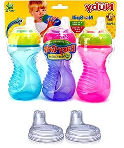 Nuby No Spill Easy Grip 10 Oz Sippy Cups 3 Pack  Plus 2 Pack