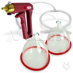 LeLuv Vacuum Breast Pump Kit MAXI Red Natural Body Enhanceme