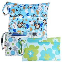 KF Baby Waterproof Cloth Diaper Travel Wet Dry Bag, Small La