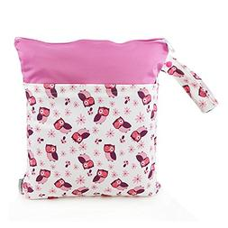 1 PC Baby Wet/Dry Bag Splice Cloth Diaper Waterproof Bags wi