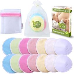 M&Y Organic Bamboo Nursing Pads, Large, Multi-Color, Pack of